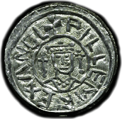 Coin of William I portrait with septres. .